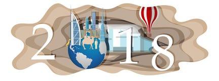 Bonne année 2018 Points de repère de Dubaï sur le globe Art de papier Photos libres de droits