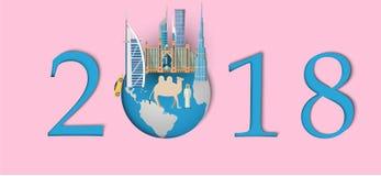 Bonne année 2018 Points de repère de Dubaï sur le globe Style de papier d'art et de métier Photographie stock libre de droits