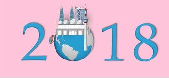 Bonne année 2018 Points de repère de la Malaisie sur le globe Style de papier d'art et de métier Photos libres de droits