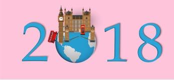 Bonne année 2018 Points de repère de Londres sur le globe Style de papier d'art et de métier Photo stock