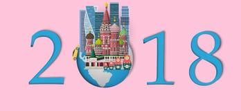 Bonne année 2018 Points de repère de Moscou, Russie sur le globe Style de papier d'art et de métier Photographie stock libre de droits