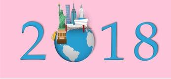 Bonne année 2018 Points de repère de New York sur le globe Style de papier d'art et de métier Photos libres de droits