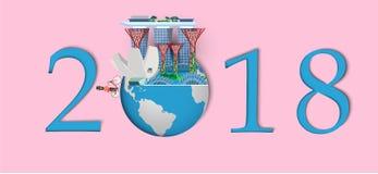 Bonne année 2018 Points de repère de Singapour sur le globe Style de papier d'art et de métier Image libre de droits