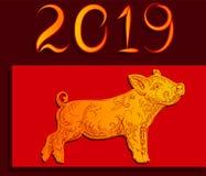 Bonne année 2019, porc d'or sur une illustration rouge de vecteur de fond illustration stock