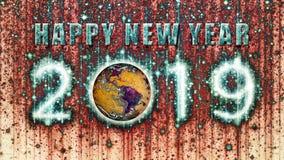 Bonne année psychédélique visqueuse 2019 avec la terre photo stock