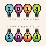 Bonne année 2018 sur l'ampoule Image stock