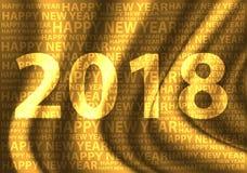 Bonne année 2018 sur la conception de satin de tissu d'or pour le vecteur de fond de célébration de compte à rebours de festival  Photographie stock libre de droits