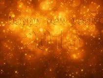 Bonne année 2015 sur le bokeh orange Photo libre de droits