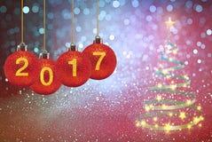 Bonne année 2017 sur le fond abstrait Photographie stock libre de droits