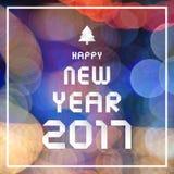Bonne année 2017 sur le fond coloré de bokeh Image libre de droits