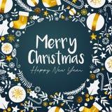 Bonne année Teal Background foncé d'or de Joyeux Noël illustration de vecteur