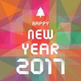 Bonne année 2017 sur le fond géométrique coloré Images stock
