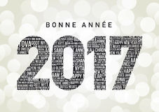 Bonne Annee 2017. In different languages all over the world (Bonne Annee is Happy new year in French Stock Images
