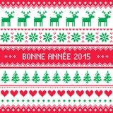 Bonne Annee 2015 - fransk modell för lyckligt nytt år Arkivfoto