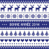 Bonne Annee 2014 - french happy new year pattern. Navy blue background for celebrating New Years - nordic kntting style Royalty Free Stock Image
