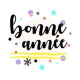 Bonne Annee Saluto francese del buon anno Arte tipografica nera di vettore Immagini Stock Libere da Diritti