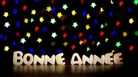 Bonne annee, szczęśliwy nowy rok w Francuskim języku zdjęcie stock