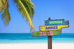Bonne annee 2019 znaczy szczęśliwych nowy rok w Francuskim na kierunku barwionych drewnianych znakach, plaży i drzewku palmowym, obraz stock