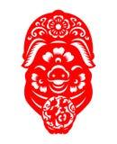 Bonne chance chinoise de moyen de mot de porc de prise de papier rouge de zodiaque dans la conception de vecteur de signe de cerc Photo libre de droits