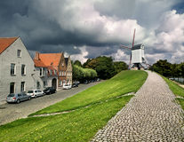 Bonne Chieremolen. Typical windmills in Flanders, under a cloudy sky Stock Images