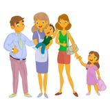 Bonne d'enfants avec l'enfant et la famille Photo libre de droits