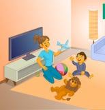 Bonne d'enfants jouant avec le petit enfant Image stock