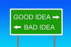 Bonne et mauvaise idée Photos libres de droits