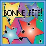 Bonne Fête 3D Stars Illustration. Bonne fête is 'Happy Birthday' in English. 3D colorful stars with blue neon frame Stock Image