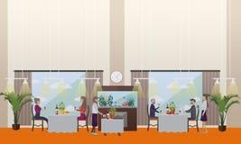 Bonne illustration de vecteur de concept de restaurant dans le style plat Image stock