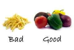 Bonne nourriture saine, mauvais colorants alimentaires malsains Images stock