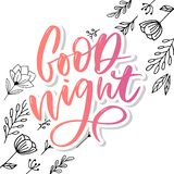 Bonne nuit Affiche tir?e par la main de typographie Conception calligraphique en lettres de main de T-shirt Slogan inspiré de typ images libres de droits