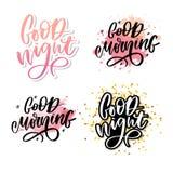 Bonne nuit Affiche tir?e par la main de typographie Conception calligraphique en lettres de main de T-shirt Slogan inspiré de typ illustration de vecteur