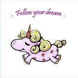 Bonne nuit Sommeil mignon de licorne et affiche d'arc-en-ciel, carte postale Sommeil d'éclat d'étoiles illustration libre de droits