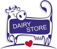 Bonne vache mignonne comme élément de logo de magasin de laiterie Images libres de droits