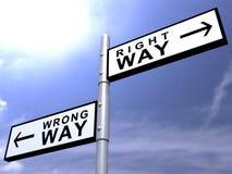 Bonne voie, signe de route faux de voie photos libres de droits