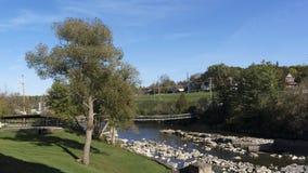 Swinging Bridge over Bonnechere River, Renfrew, Ontario Stock Image