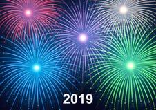 2019 bonnes années ! Bonne année, fond avec les feux d'artifice colorés et étincelles illustration de vecteur