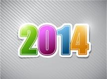 Bonnes années 2014 d'illustration colorée de carte Images libres de droits
