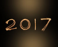 Bonnes années 2017 de feux d'artifice d'alphabet d'étincelle Concept d'an neuf heureux Image stock