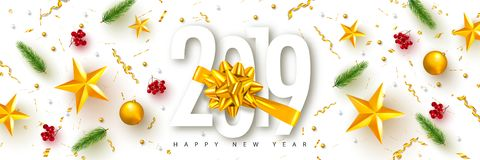 2019 bonnes années Fond universel de vecteur avec l'arc, les branches de sapin, la sorbe, les étoiles et la serpentine d'or Appro illustration libre de droits