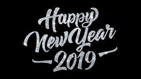 2019 bonnes années souhaitent des salutations de particules, invitation, fond de célébration illustration stock