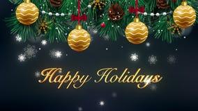 Bonnes fêtes belle animation d'aspect des textes dans le ciel d'hiver de nuit Texte fait d'étoiles HD 1080 banque de vidéos