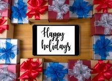 Bonnes fêtes bonne célébrité heureuse de carte de voeux de salutation gaie Image libre de droits