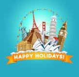 Bonnes fêtes carte de voeux pour l'agence de voyages ou la carte postale Vec illustration stock