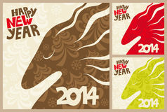 Bonnes fêtes. Cartes de voeux. Cheval 2014 élégant Photos stock