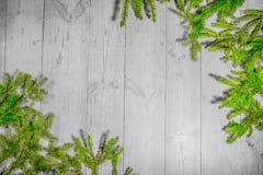 Bonnes fêtes, décoration de Noël, panneau et branches des arbres Photo stock
