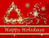Bonnes fêtes flocons de neige d'arbre de Noël en or R Image libre de droits