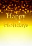 Bonnes fêtes fond d'or Photographie stock libre de droits