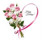 Bonnes fêtes forme de coeur de ruban avec le bouquet rose Photo libre de droits