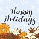 Bonnes fêtes Illustration de fête avec des biscuits, des épices et des oranges illustration stock